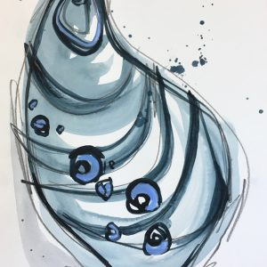 """(sold) Watercolor shell no. 1  9""""x12"""""""