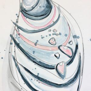 "Watercolor shell no.4  9""x12"" $60"