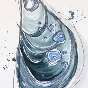 "Watercolor shell no. 5 9""x12""  $60"